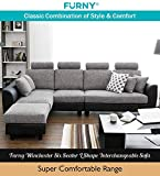 Furny Winchester Six Seater L-Shape Interchangeable Sofa (Light Grey- Black)