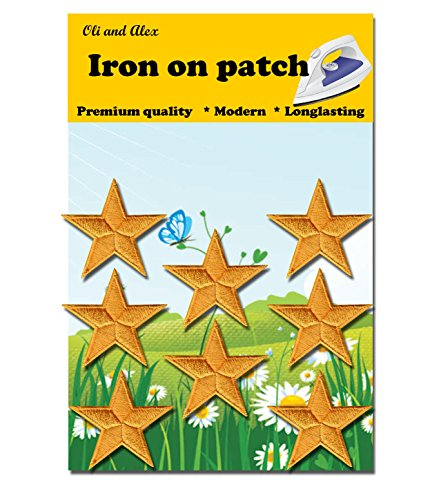 Iron On Patches - Yellow Star Patch 8 pcs Iron On Patch Embroidered Applique - Yellow Patches Star