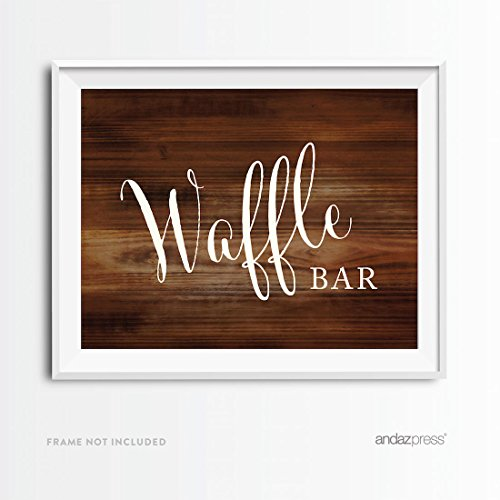 (Andaz Press Wedding Party Signs, Rustic Wood Print, 8.5x11-inch, Waffle Bar Reception Dessert Table Sign, 1-Pack, Sunday Brunch Decor Decorations, Unframed)