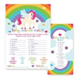 Unicorn Animal Match Game Cards for Baby Shower - 25 Pack