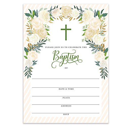 Gender Neutral Baptism Invitations with Envelopes (Pack of 25) Large 5x7