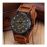 Generic Curren Men Date Stainless Steel Leather Analog Quartz Sport Wrist Watch Black Brown