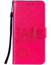 Miagon for Samsung Galaxy A51 Case,Embossed Owl Flower Heart Pattern PU Leather Wallet Stand Flip Cover with Card Slots Magnetic Closure
