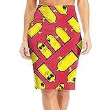 Condoms Sunglasses Gift Womens Knee Length Floral Print Elastic Pencil Skirt