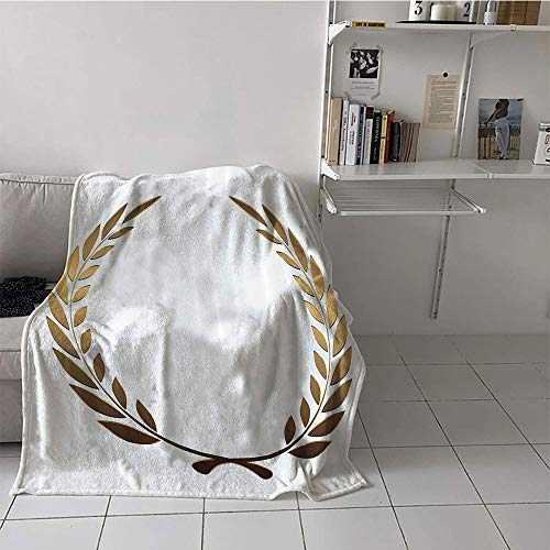 Khaki home Children's Blanket Party Print Digital Printing Blanket (50 by 60 Inch,Gold,Ancient Circular Laurel Wreath with Interlocking Branches and Evergreen Leaves Design,Gold White ()