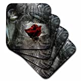 3D Rose Image of Steampunk Metal with Red Rose Soft Coasters, Multicolor