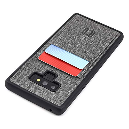 Dockem Luxe Wallet Case for Samsung Galaxy Note 9; Slim TPU with Canvas Synthetic Leather 2 Slot Card Case (Black and Grey)