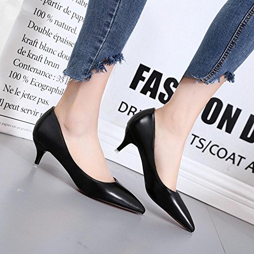 1 Kitten Women's 4in PU Comfort Black Heel Summer Heels Dress AIURBAG 3 1in pFvqHUTwv