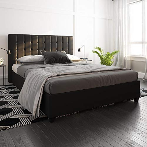 DHP Emily Upholstered Faux Leather Platform Bed with Wooden Slat Support, Tufted Headboard, Queen Size - Black (Cheap Sale Headboards Upholstered)