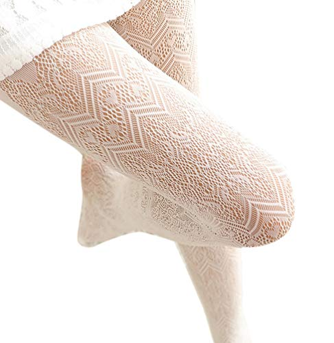 Ealafee Lady Lace Hollow Out Tight Sock Off White Lace Floral Pantyhose Stocking