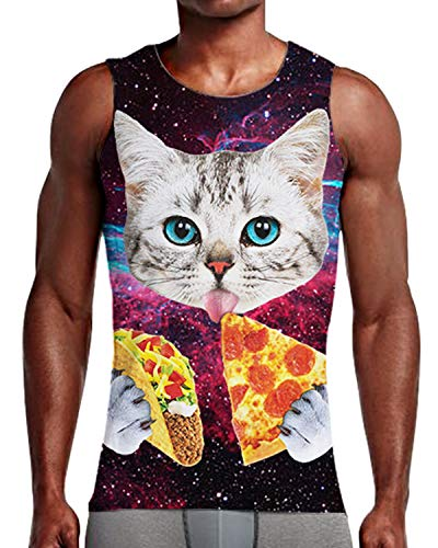 Mens Galaxy Pizza Cat Tank Tops 3D Basketball Sports Casual Loose Sleeveless Top T-Shirts M