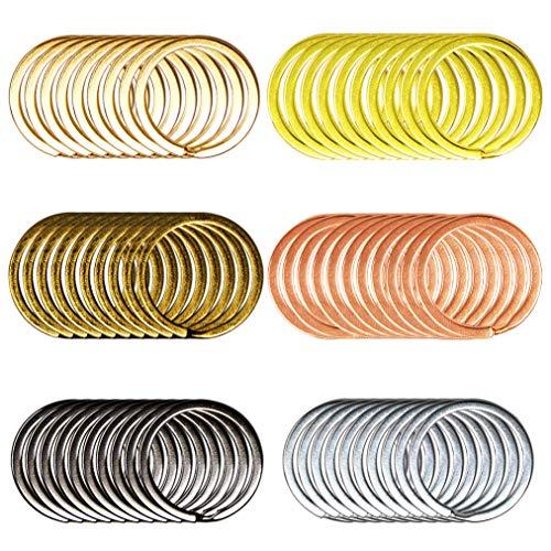 Lee-buty 60pcs 6 Color Flat Key Chain Rings Metal Split Keychain Rings Split Key Rings for Car Home Keys Organization, Arts Crafts, Lanyards, 1 Inch (30mm, 6 Color)