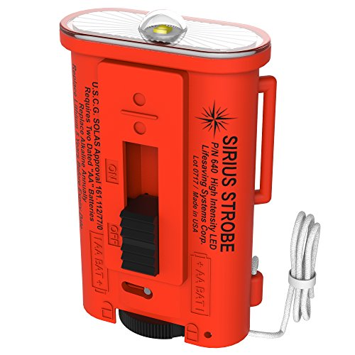 Lifesaving Systems Corp SIRIUS LED Strobe Light - US Coast Guard Approved Signaling Strobe, Exceeds SOLAS Requirements - Made in (Signal Strobe Light)