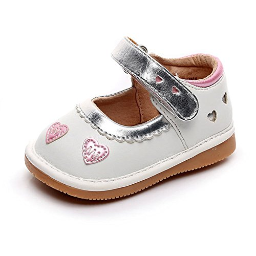 - UBELLA Toddler Girl's Squeaky Shoes Punch Princess Mary Jane Flats (Removable Squeakers) White