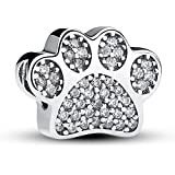 Everbling Dog Puppy Paw Print Pet 925 Sterling Silver Bead Fits European Charm Bracelet (Dog Paw Prints With Clear CZ)