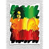Rasta Tapestry by Ambesonne, Iconic Reggae Music Singer Abstract Design with Sun and Palm Trees, Wall Hanging for Bedroom Living Room Dorm, 40 W X 60 L Inches, Green Yellow Red and Orange