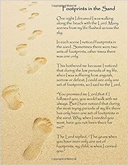 footprints in the sand a large 8 5 x 11 notebook journal or