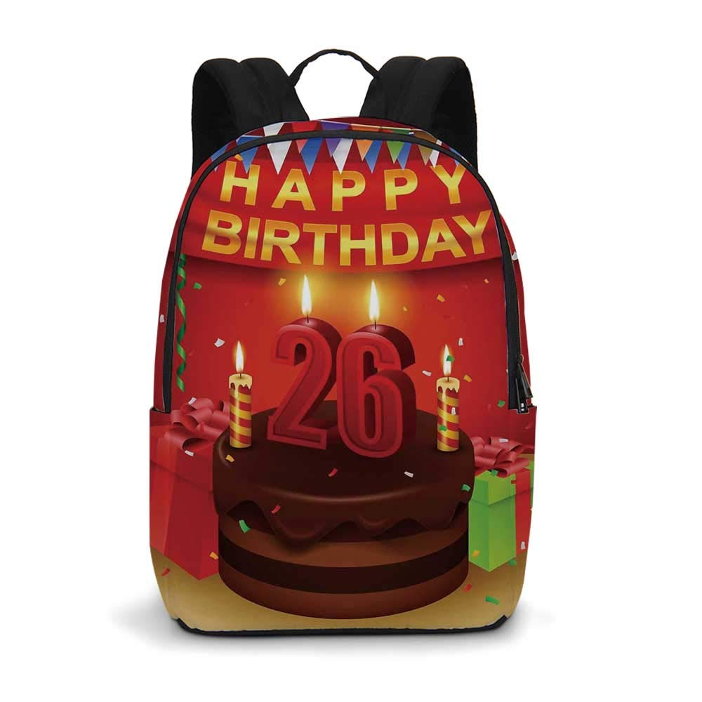 26th Birthday Decorations Modern simple Backpack,Chocolate Cake with Candles and Ribbon Surprise Wishes Image for school,11.8''L x 5.5''W x 18.1''H