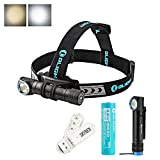Olight H2R NOVA CREE XHP50 LED 2300 Lumens Rechargeable Versatile LED Flashlight / Headlamp with Head Strap and Customized 3000mAh 18650 battery,Magnetic Charging Cable, SKYBEN USB Light (Cool White)