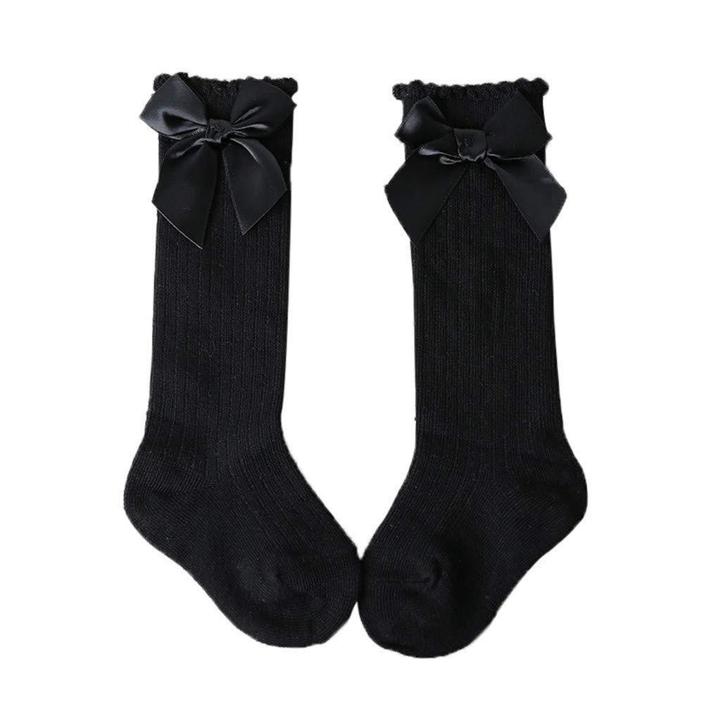 ❤️ Mealeaf ❤️ New Kids Toddlers Girls Big Bow Knee High Long Soft Cotton Lace Baby Socks Kids(Black ,M)