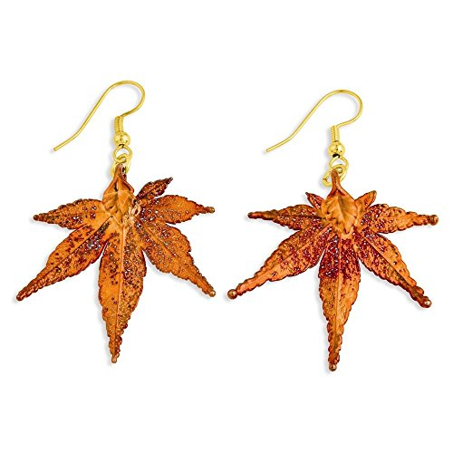 (Iridescent Copper Dipped Japanese Maple Leaf Dangle Earrings )
