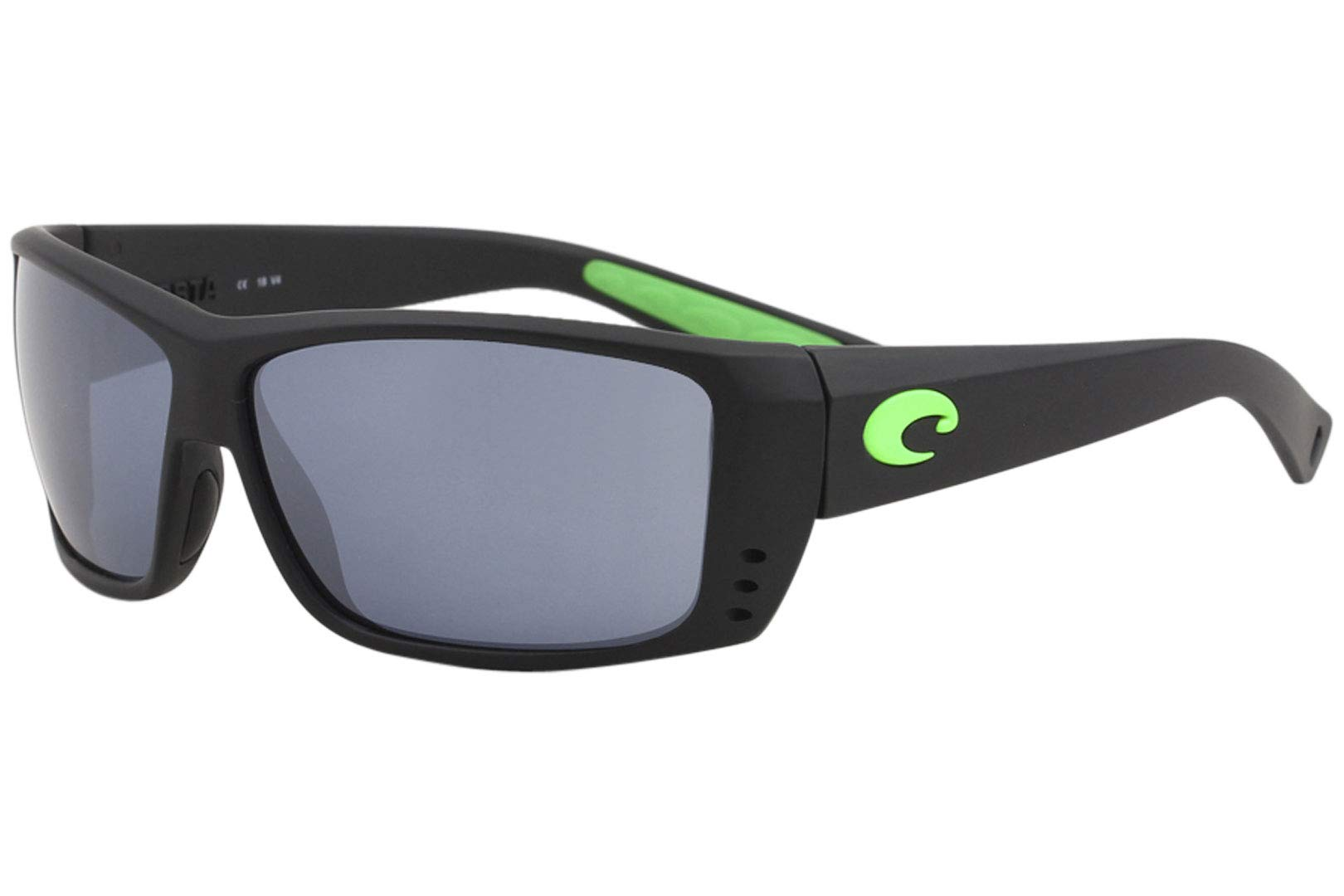 Costa Del Mar Cat Cay Sunglasses Matte Black w/Green Logo/Gray Silver Mirror 580Plastic by Costa Del Mar