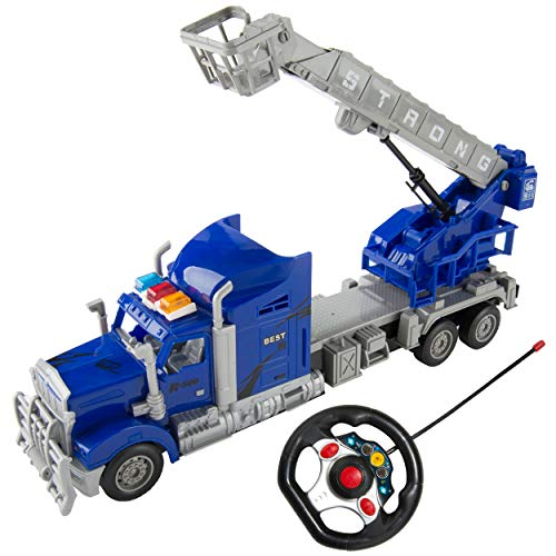 SumacLife 1:15 Scale Kid's Full Function R/C Remote Controlled Blue Rescue Truck with Crane Basket and Extending Ladder