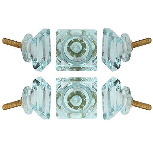 - Set of 6 Crystal Glass Knobs Kitchen Cabinet Cupboard Glass Door Knobs Dresser Wardrobe and Drawer Pull by Perilla Home (Light Blue)
