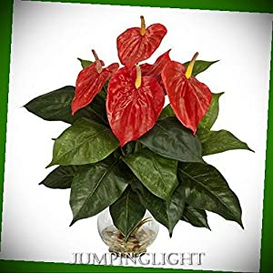 JumpingLight 6668 Anthurium with Fluted Glass Bowl Silk Flower Arrangement Artificial Flowers Wedding Party Centerpieces Arrangements Bouquets Supplies 15