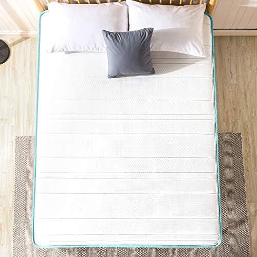 ZINUS 8 Inch Memory Foam Spring Hybrid Mattress Curtis Upholstered Platform Bed Frame
