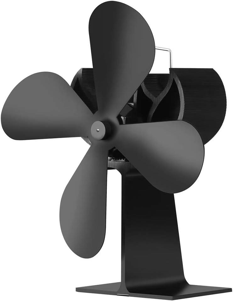 GANK WWZS AYSMG XL BLFS-001 Ventilador de Estufa de Chimenea Ultra silencioso, accionado por Calor, de 4 Cuchillas, de Aluminio (Negro) (Color : Black)