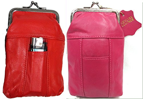 (2pcTwo Color Set Women's Genuine Soft Leather Cigarette Case Pouch w/ Lighter Pocket Fit 100's HOT PINK + RED 2pc for $10.99 )
