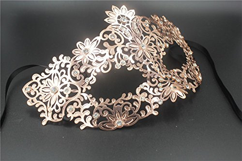 Mardi Gras Party Masquerade Mask,Party mask Venice Costume Dance Hollow Metal Silk mask Halloween Dance Photography Props Rose Gold Prom Masks ()