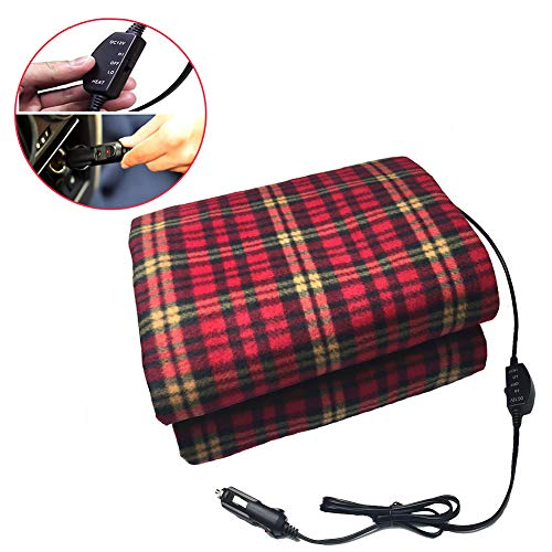 XHSP Electric Heating Blanket, Electric Car Blanket Heated 12 Volt Fleece Travel Throw for Car and RV, Great for Cold Weather, Tailgating, and Emergency Kits (60''X 40'')