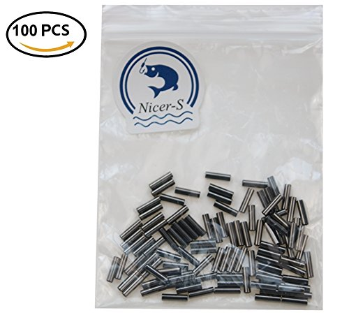 Nicer-S 100-1000Pcs Fishing Wire Single Barrel Crimp Sleeves, 100% Copper Tube Connector Fishing Tackle Kit -5 Sizes Available (100 Pieces, 1.4mm Inside (Single Crimp)