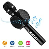 JUDYelc Karaoke Cool Microphone Wireless Portable Bluetooth Alloy Player Speaker for Apple/Android Smartphone Or PC, Home KTV Party Music Playing Singing Anytime (Deep-Black)