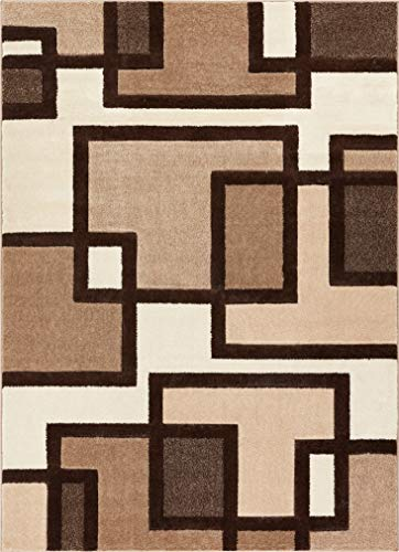 Uptown Squares Ivory & Brown Modern Geometric Comfy Casual Hand Carved Area Rug 4x5 4x6 ( 3'11