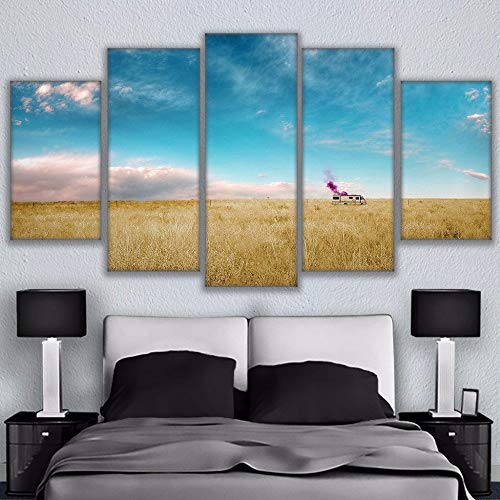 XINGAKA HD Printed Canvas Pictures Living Room Home Decor 5 Pieces Thick Growth of Grass Breaking Bad Rv Painting Wall, 40x60 40x80 40x100cm,Frame