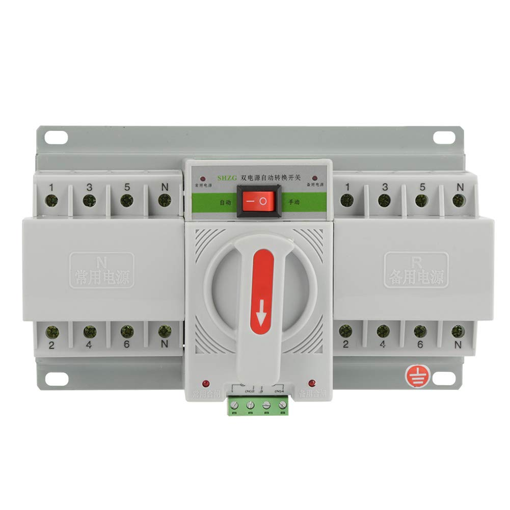 Hilitand 220V 63A Automatic Transfer Switch Mini Intelligent Dual Electronic Power Circuit Breaker (4P)
