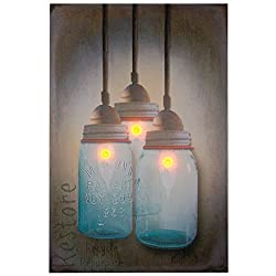 Ohio Wholesale 38936 Canning Jar Chandelier Canvas Radiance Lighted Wall Art