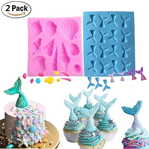 Set of 2 JeVenis Mermaid Series Tail Mermaid Silicone Fondant Mold for Cake decoration Chocolate Candy Mold Soap Mold Baking Tool Jello Mold Cupcake Topper Ice Tray Decoration Molds
