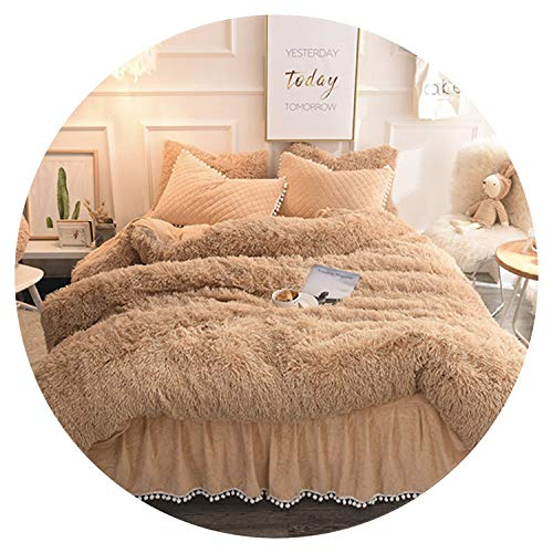 (Mink Fleece Pure Color Bedding Sets Crystal Velvet Winter Duvet Cover Quilted Warm Bed Skirt Pillowcases Twin Queen King Size,UM8,Queen A Size 4Pcs)