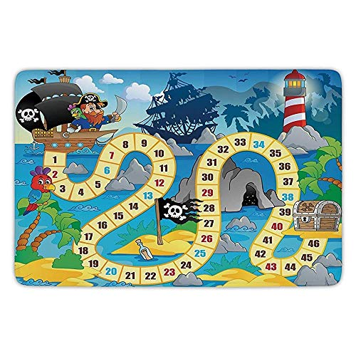Bathroom Bath Rug Kitchen Floor Mat Carpet,Board Game,Ghost Ship with Pirates Lighthouse Tropical Island Waters Buccaneer Ocean Palms,Multicolor,Flannel Microfiber Non-Slip Soft Absorbent