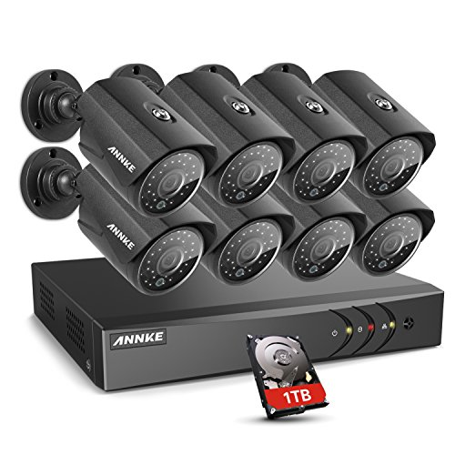 ANNKE 8-Channel Outdoor Surveillance System 1080P Lite 5-in-1 DVR with 1TB HDD and (8) 1.3MP 960P Weatherproof Metal Cameras, 100ft Night Vision, Easy Remote View, Motion Detection,Smart Playback by ANNKE