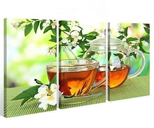 Leinwand 3 tlg. Küche Tasse grün Tee Blüte Blatt Blume Bilder Wandbild 9A289, 3 tlg BxH 120x80cm (3Stk 40x 80cm)