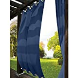 gazebo curtains 12x14 TWOPAGES Outdoor Curtain Antique Bronze Grommet Eyelet(Both Top and Bottom) Navy 200