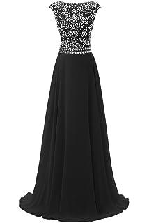 25f9a676fb2b Dresstore Women's Long Chiffon Bridesmaid Dress Cap Sleeves Beaded Prom  Eveing Gown