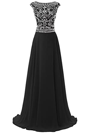 c445606e330 Dresstore Women s Long Chiffon Bridesmaid Dress Cap Sleeves Beaded Prom  Eveing Gown - Black - 2