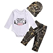 CANIS Baby Boys Crawl Walk Hunt Deer Horn Bodysuit and Pants Outfit with Hat (70(0-6M), White)