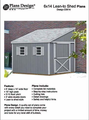 Do It Yourself A Storage Shed Plans Lean To Style Shed Plans 6 X 14 Plans Design E0614